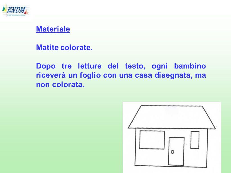 Materiale Matite colorate. Dopo tre letture del testo, ogni bambino riceverà un foglio con una casa disegnata, ma non colorata.