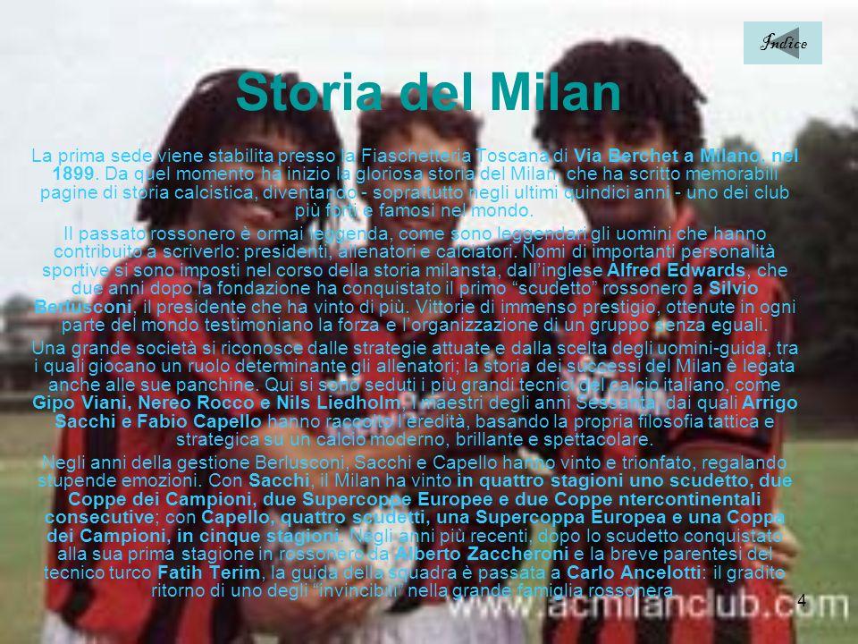 5 Trofei Ufficiali Nazionali: Campionati italiani: 17 1901 - 1906 - 1907 - 1950/51 - 1954/55 - 1956/57 - 1958/59 - 1961/62 - 1967/68 - 1978/79 - 1987/88 - 1991/92 - 1992/93 - 1993/94 -1995/96 - 1998/99 - 2003/04 Coppe Italia: 5 1966/67 - 1971/72 - 1972/73 - 1976/77 - 2002/03 Supercoppe Italiane: 5 1988 - 1992 - 1993 - 1994 - 2004 Internazionali: Coppe dei Campioni: 7 1962/63 - 1968/69 - 1988/89 - 1989/90 - 1993/94 - 2002/03 - 2006/2007 Coppe delle Coppe: 2 1967/68 - 1972/73 Supercoppe Europee: 5 1989 - 1990 - 1994 - 2003 - 2007 Coppe Intercontinentali: 4 1969 - 1989 – 1990 - 2007 Non Ufficiali Nazionali: Trofeo Luigi Berlusconi: 9 1992 - 1993 - 1994 - 1996 - 1997 - 2002 - 2005 - 2006 - 2007 Trofeo TIM: 2 2001 - 2006 Internazionali: Mundialito per club: 1 1987 Coppe IFFHS: 2 1995 - 2003 Indice