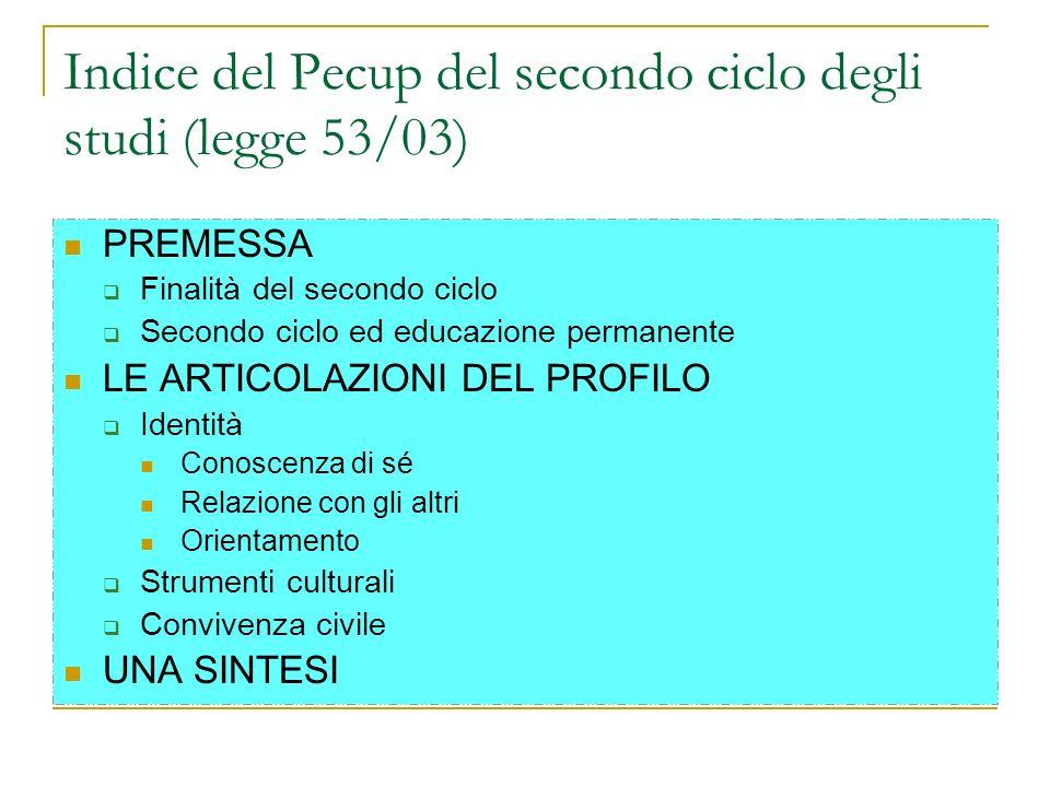 Indice del Pecup del secondo ciclo degli studi (legge 53/03) PREMESSA Finalità del secondo ciclo Secondo ciclo ed educazione permanente LE ARTICOLAZIO