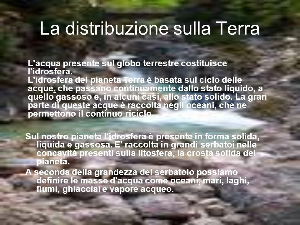 La distribuzione sulla Terra Sul nostro pianeta l'idrosfera è presente in forma solida, liquida e gassosa. E' raccolta in grandi serbatoi nelle concav