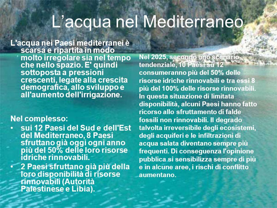 Lacqua nel Mediterraneo L'acqua nei Paesi mediterranei è scarsa e ripartita in modo molto irregolare sia nel tempo che nello spazio. E' quindi sottopo