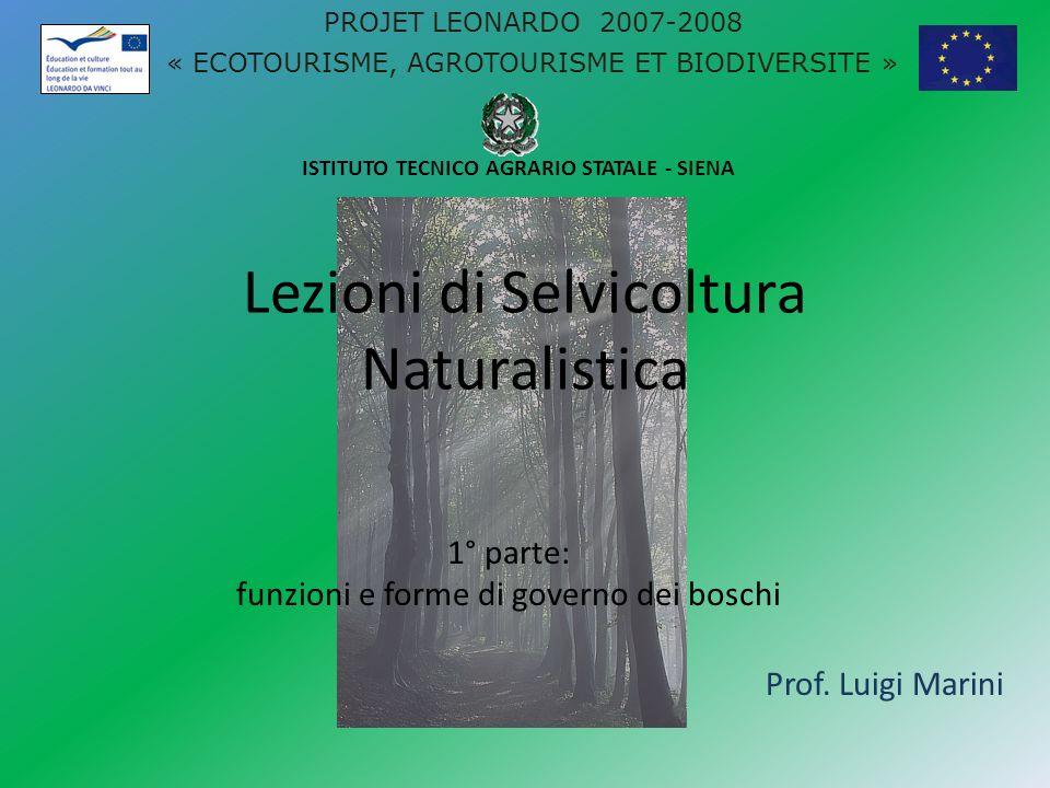 Lezioni di Selvicoltura Naturalistica Prof. Luigi Marini ISTITUTO TECNICO AGRARIO STATALE - SIENA PROJET LEONARDO 2007-2008 « ECOTOURISME, AGROTOURISM