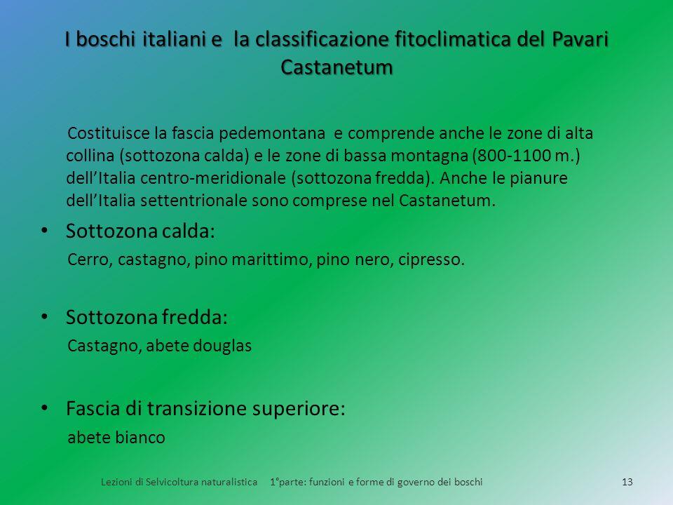 I boschi italiani e la classificazione fitoclimatica del Pavari Castanetum Lezioni di Selvicoltura naturalistica 1°parte: funzioni e forme di governo