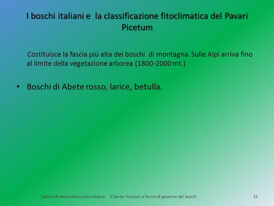 I boschi italiani e la classificazione fitoclimatica del Pavari Picetum Lezioni di Selvicoltura naturalistica 1°parte: funzioni e forme di governo dei