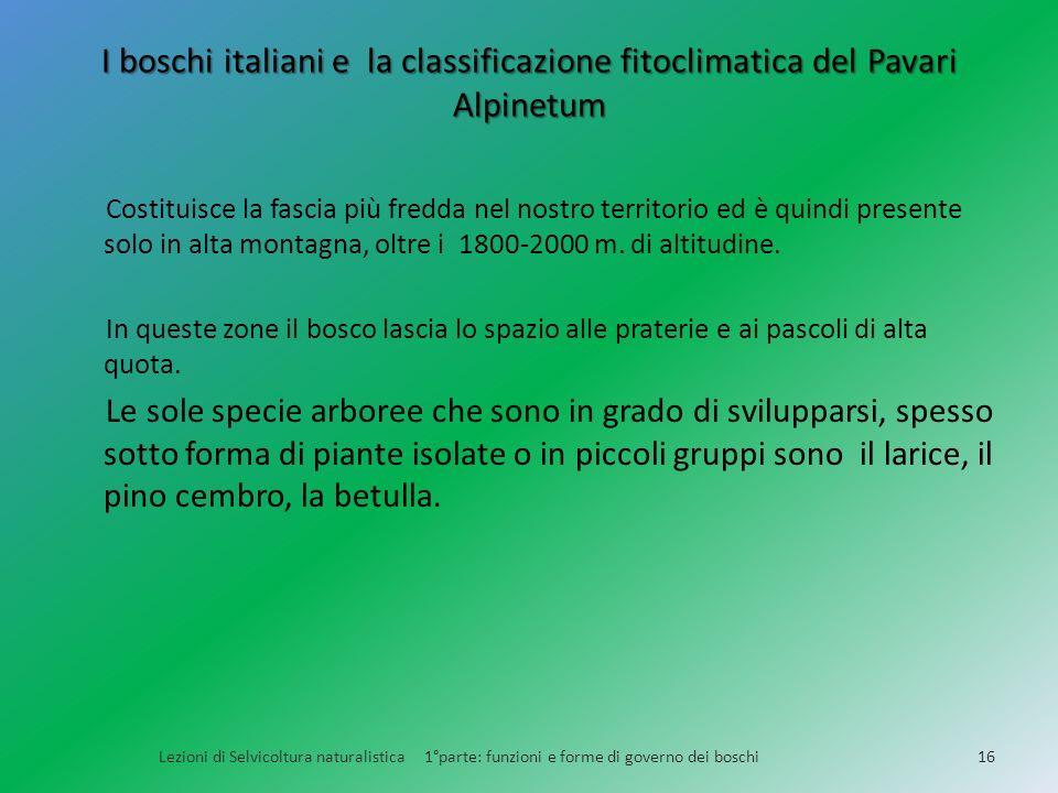 I boschi italiani e la classificazione fitoclimatica del Pavari Alpinetum Lezioni di Selvicoltura naturalistica 1°parte: funzioni e forme di governo d