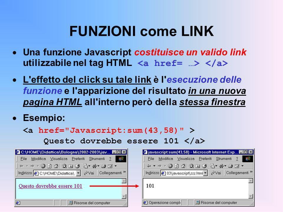 FUNZIONI come LINK Una funzione Javascript costituisce un valido link utilizzabile nel tag HTML L'effetto del click su tale link è l'esecuzione delle