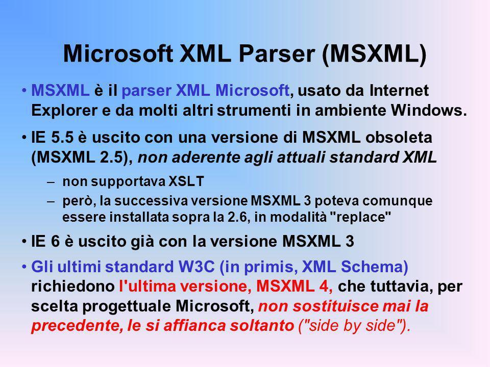 Microsoft XML Parser (MSXML) MSXML è il parser XML Microsoft, usato da Internet Explorer e da molti altri strumenti in ambiente Windows. IE 5.5 è usci