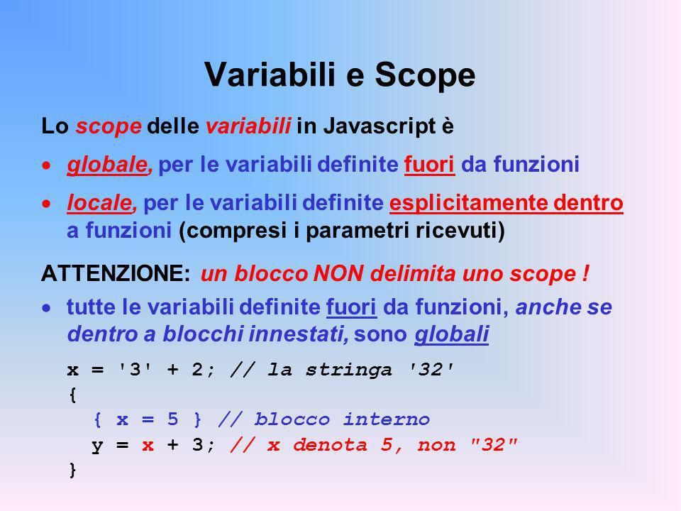 Variabili e Scope Lo scope delle variabili in Javascript è globale, per le variabili definite fuori da funzioni locale, per le variabili definite espl