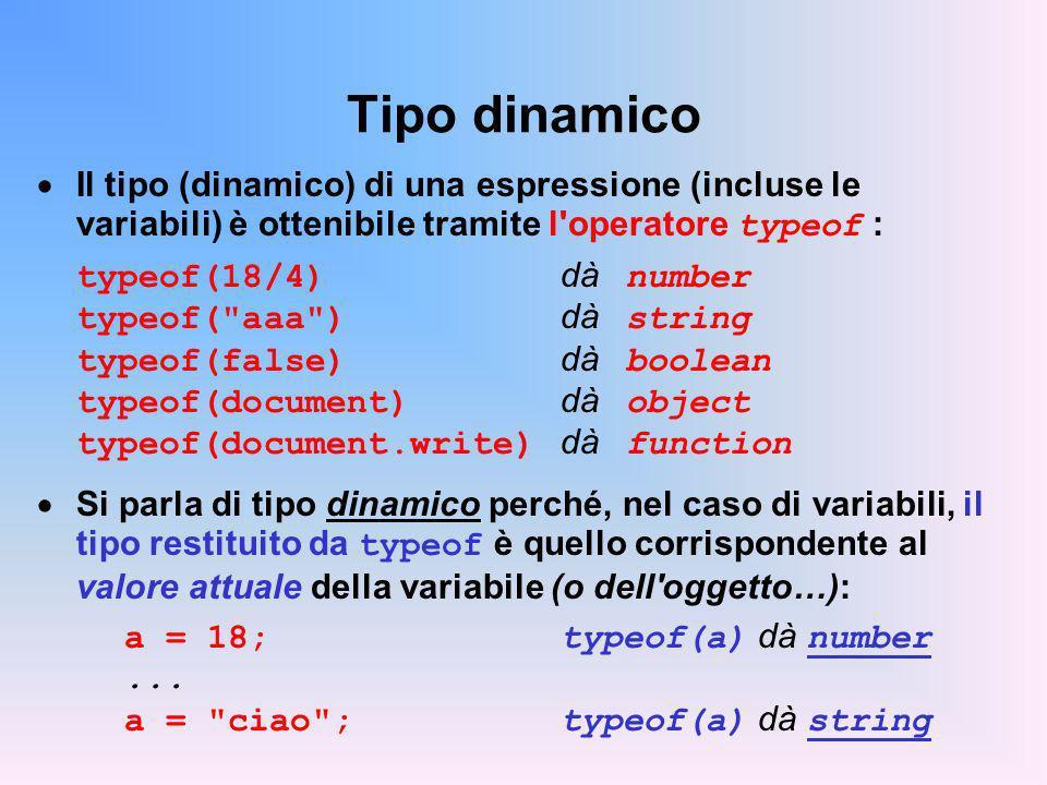 Tipo dinamico Il tipo (dinamico) di una espressione (incluse le variabili) è ottenibile tramite l operatore typeof : typeof(18/4) dà number typeof( aaa ) dà string typeof(false) dà boolean typeof(document) dà object typeof(document.write) dà function Si parla di tipo dinamico perché, nel caso di variabili, il tipo restituito da typeof è quello corrispondente al valore attuale della variabile (o dell oggetto…): a = 18;typeof(a) dà number...