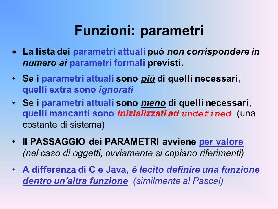 Funzioni: parametri La lista dei parametri attuali può non corrispondere in numero ai parametri formali previsti. Se i parametri attuali sono più di q