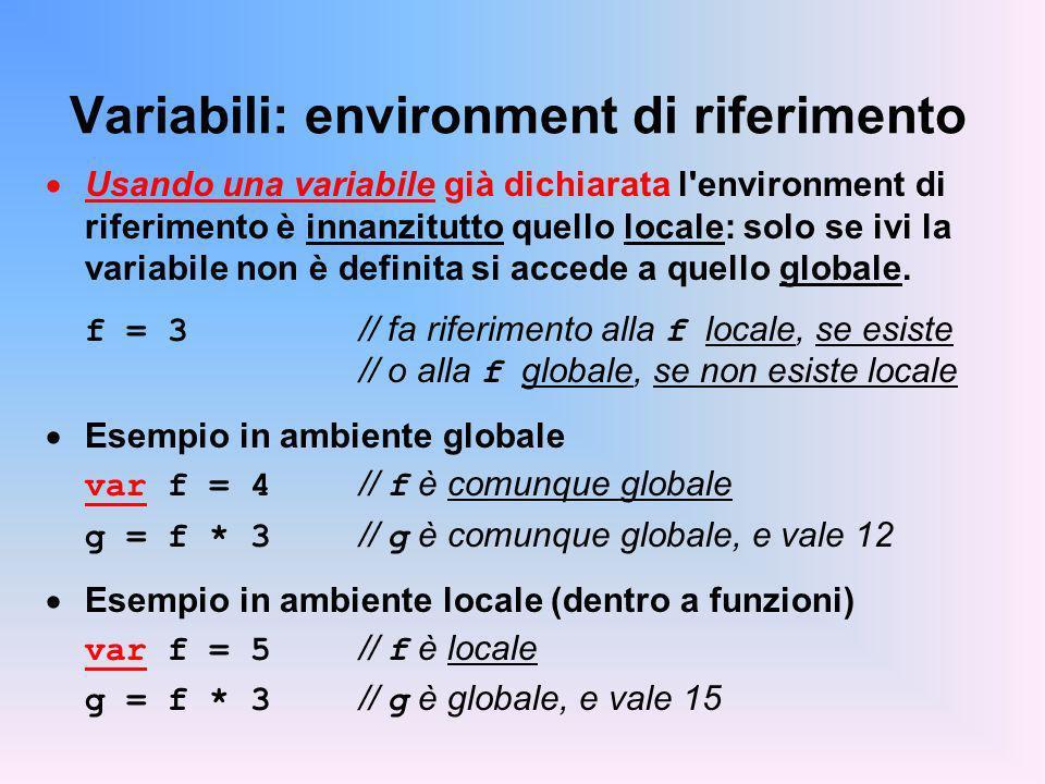 Variabili: environment di riferimento Usando una variabile già dichiarata l environment di riferimento è innanzitutto quello locale: solo se ivi la variabile non è definita si accede a quello globale.