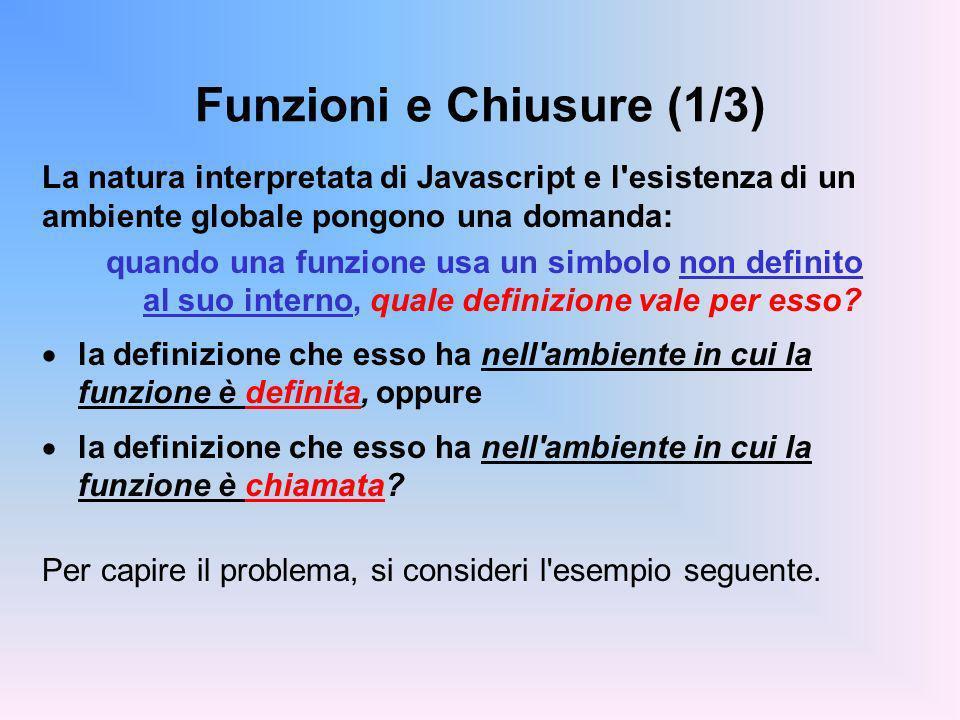 Funzioni e Chiusure (1/3) La natura interpretata di Javascript e l esistenza di un ambiente globale pongono una domanda: quando una funzione usa un simbolo non definito al suo interno, quale definizione vale per esso.