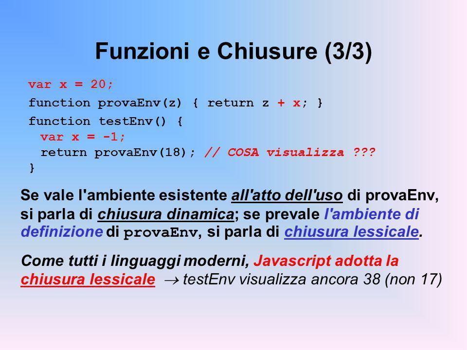 Funzioni e Chiusure (3/3) var x = 20; function provaEnv(z) { return z + x; } function testEnv() { var x = -1; return provaEnv(18); // COSA visualizza ??.