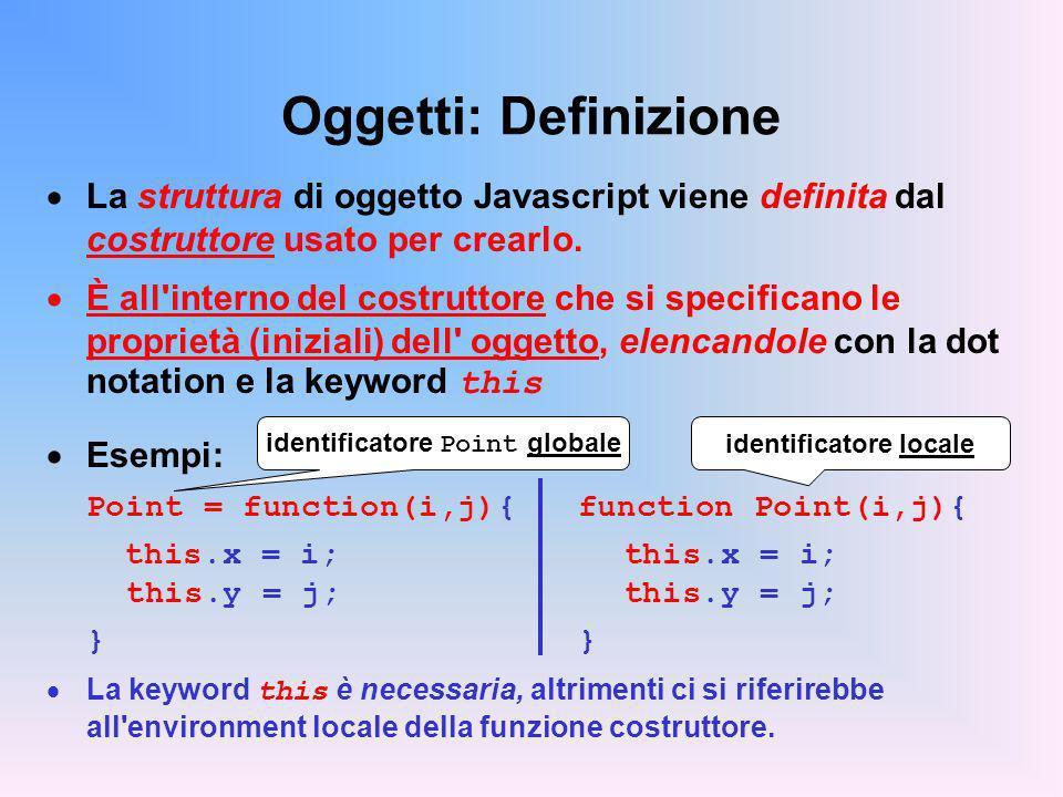 Oggetti: Definizione La struttura di oggetto Javascript viene definita dal costruttore usato per crearlo. È all'interno del costruttore che si specifi