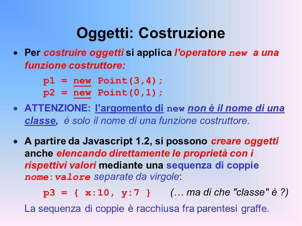 Oggetti: Costruzione Per costruire oggetti si applica l operatore new a una funzione costruttore: p1 = new Point(3,4); p2 = new Point(0,1); ATTENZIONE: l argomento di new non è il nome di una classe, è solo il nome di una funzione costruttore.