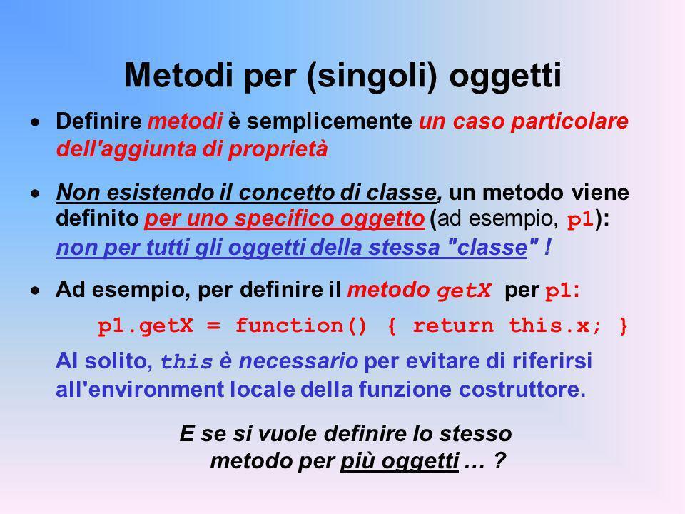 Metodi per (singoli) oggetti Definire metodi è semplicemente un caso particolare dell aggiunta di proprietà Non esistendo il concetto di classe, un metodo viene definito per uno specifico oggetto (ad esempio, p1 ): non per tutti gli oggetti della stessa classe .