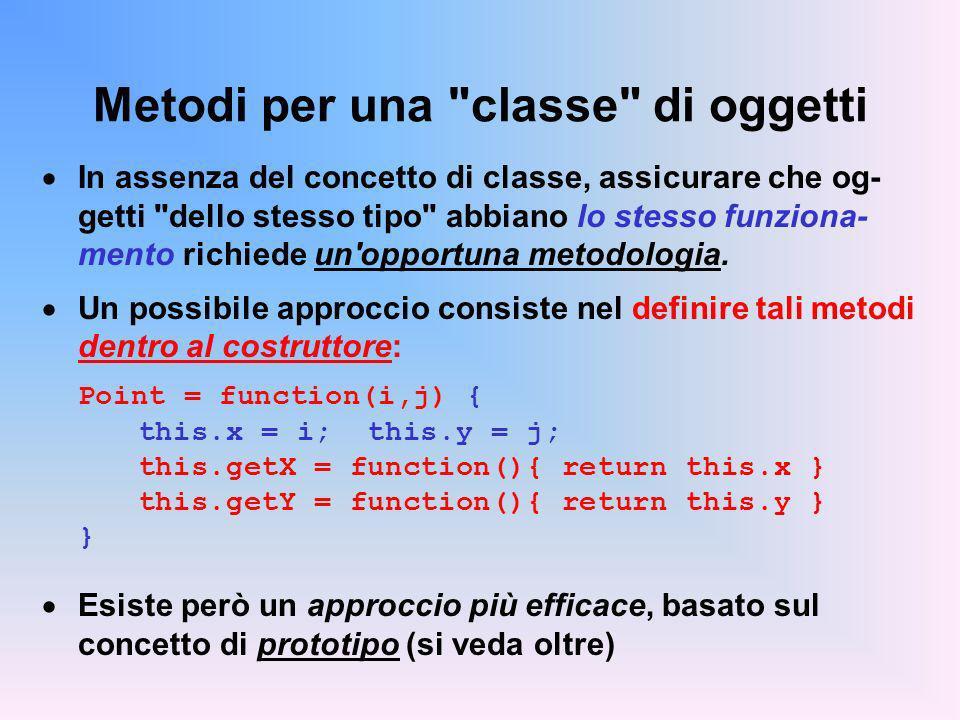 Metodi per una classe di oggetti In assenza del concetto di classe, assicurare che og- getti dello stesso tipo abbiano lo stesso funziona- mento richiede un opportuna metodologia.