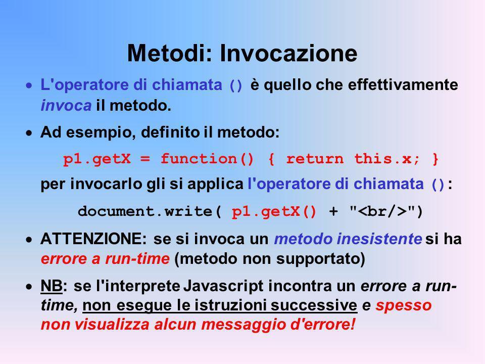 Metodi: Invocazione L'operatore di chiamata () è quello che effettivamente invoca il metodo. Ad esempio, definito il metodo: p1.getX = function() { re