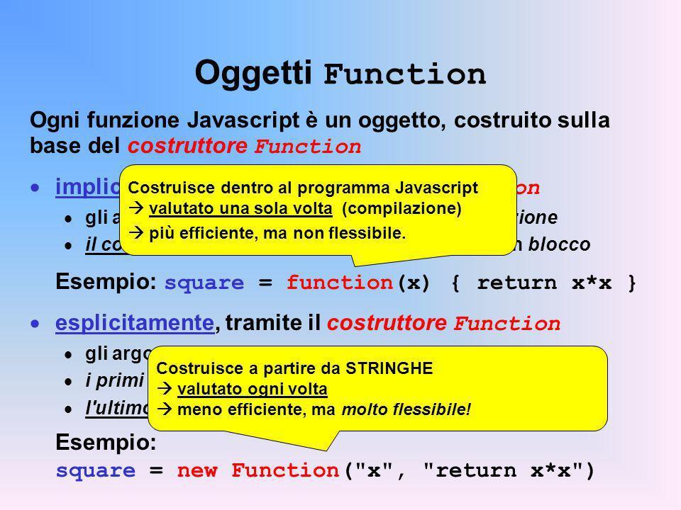 Oggetti Function Ogni funzione Javascript è un oggetto, costruito sulla base del costruttore Function implicitamente, tramite il costrutto function gli argomenti sono i parametri formali della funzione il corpo (codice) della funzione è racchiuso in un blocco Esempio: square = function(x) { return x*x } esplicitamente, tramite il costruttore Function gli argomenti sono tutte stringhe i primi N-1 sono i nomi dei parametri della funzione l ultimo è il corpo (codice) della funzione Esempio: square = new Function( x , return x*x ) Costruisce dentro al programma Javascript valutato una sola volta (compilazione) più efficiente, ma non flessibile.