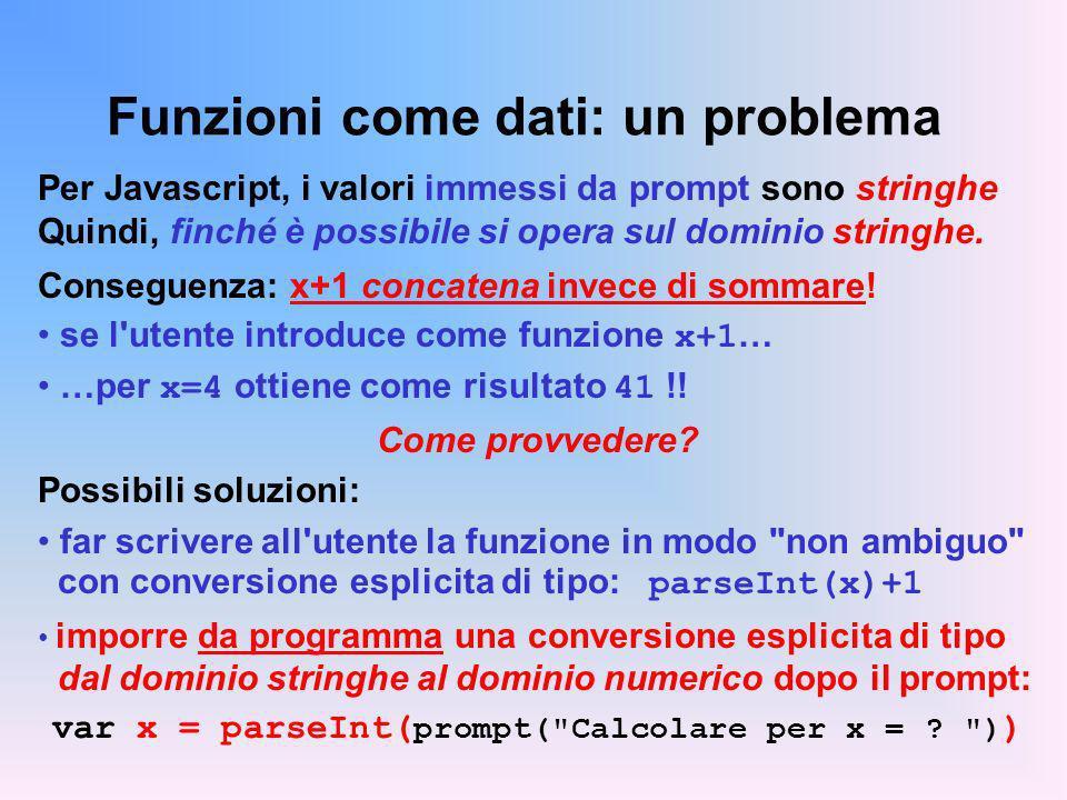 Funzioni come dati: un problema Per Javascript, i valori immessi da prompt sono stringhe Quindi, finché è possibile si opera sul dominio stringhe.