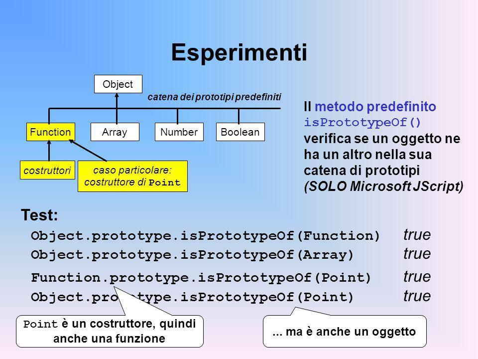 Esperimenti Object catena dei prototipi predefiniti Array FunctionNumberBoolean costruttori caso particolare: costruttore di Point Test: Object.prototype.isPrototypeOf(Function) true Object.prototype.isPrototypeOf(Array) true Function.prototype.isPrototypeOf(Point) true Object.prototype.isPrototypeOf(Point) true Il metodo predefinito isPrototypeOf() verifica se un oggetto ne ha un altro nella sua catena di prototipi (SOLO Microsoft JScript) Point è un costruttore, quindi anche una funzione...