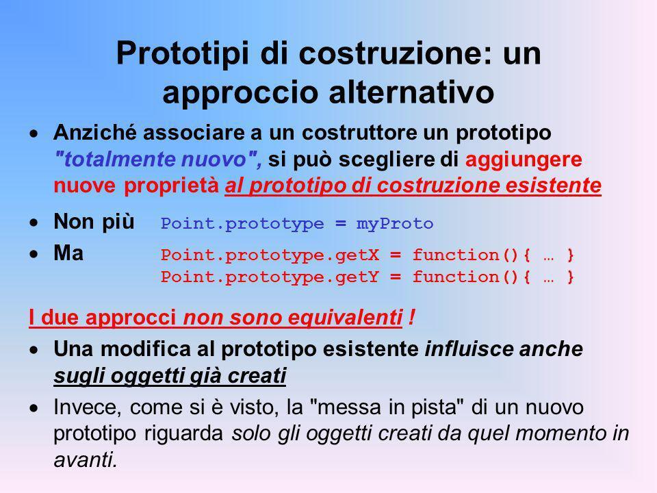 Prototipi di costruzione: un approccio alternativo Anziché associare a un costruttore un prototipo