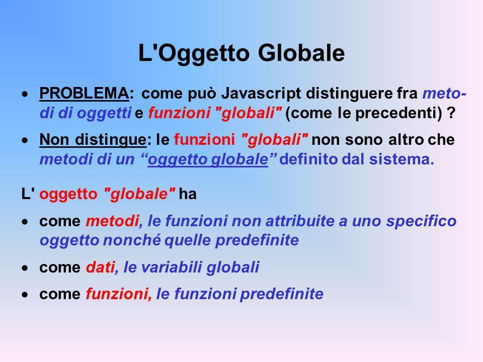 L Oggetto Globale PROBLEMA: come può Javascript distinguere fra meto- di di oggetti e funzioni globali (come le precedenti) .