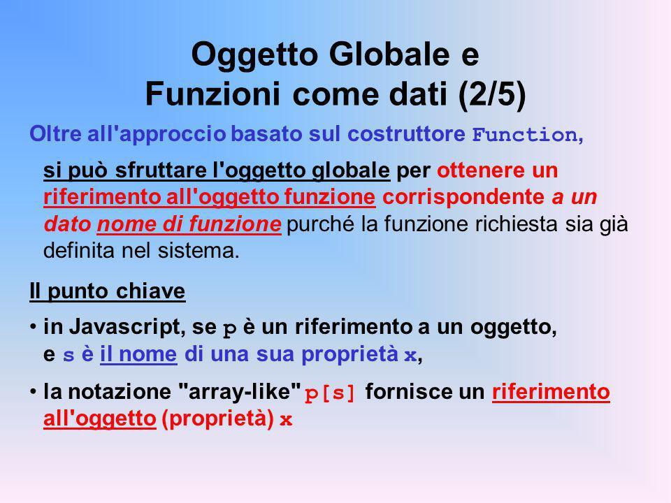 Oggetto Globale e Funzioni come dati (2/5) Oltre all'approccio basato sul costruttore Function, si può sfruttare l'oggetto globale per ottenere un rif