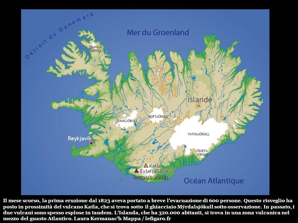 Il vulcano sotto il ghiacciaio Eyjafjallajökull è dieci volte più attivo di un cratere vicino scoppiati il 20 marzo scorso (foto). Un evento che si è