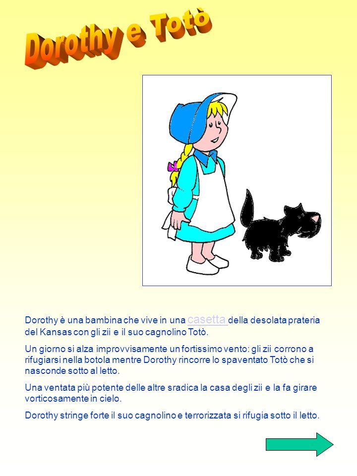 1) Presentazione di Dorothy 2) Dorothy e i Ghiottoni 3) Dorothy incontra Spaventapasseri, Omino di Latta e Leone 4) Dorothy e il mago 5) Dorothy e la
