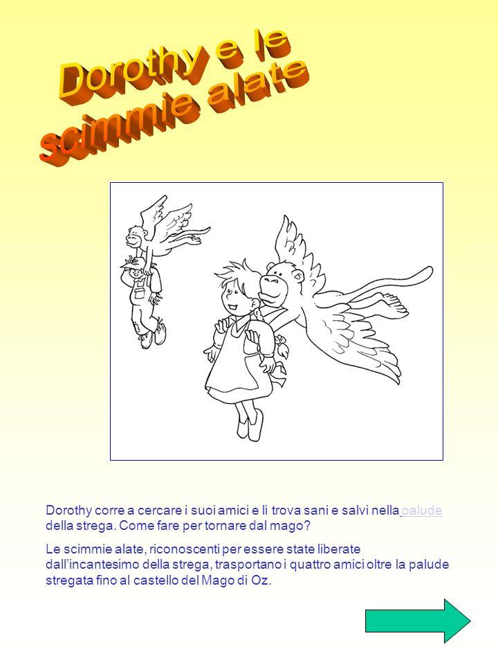 Dopo aver camminato a lungo Dorothy e i suoi nuovi amici arrivano al rudere della strega: ella gli scaglia contro un esercito di mosche pungenti, di l