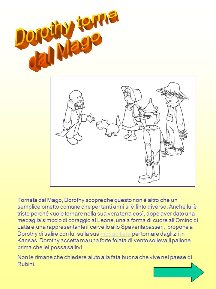 Dorothy corre a cercare i suoi amici e li trova sani e salvi nella palude della strega. Come fare per tornare dal mago?palude Le scimmie alate, ricono