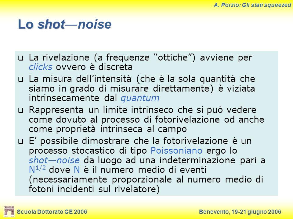Scuola Dottorato GE 2006Benevento, 19-21 giugno 2006 A. Porzio: Gli stati squeezed Lo shot Lo shotnoise La rivelazione (a frequenze ottiche) avviene p