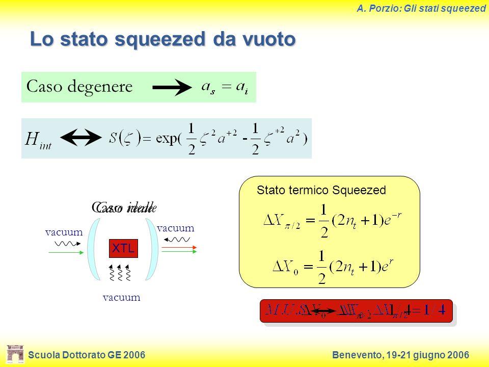 Scuola Dottorato GE 2006Benevento, 19-21 giugno 2006 A. Porzio: Gli stati squeezed Lo stato squeezed da vuoto Caso degenere Stato squeezed puro Caso i