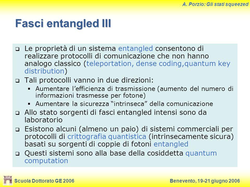 Scuola Dottorato GE 2006Benevento, 19-21 giugno 2006 A. Porzio: Gli stati squeezed Fasci entangled III Le proprietà di un sistema entangled consentono