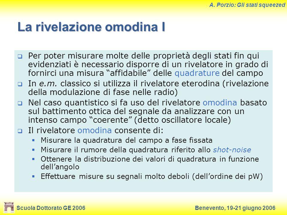 Scuola Dottorato GE 2006Benevento, 19-21 giugno 2006 A. Porzio: Gli stati squeezed La rivelazione omodina I Per poter misurare molte delle proprietà d