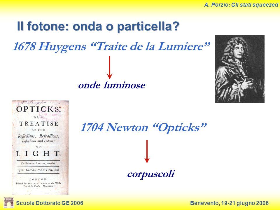 Scuola Dottorato GE 2006Benevento, 19-21 giugno 2006 A. Porzio: Gli stati squeezed 1704 Newton Opticks 1678 Huygens Traite de la Lumiere onde luminose