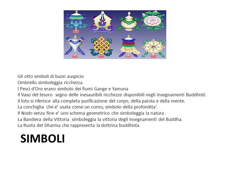 SIMBOLI Gli otto simboli di buon auspicio Ombrello simboleggia ricchezza. l Pesci dOro erano simbolo dei fiumi Gange e Yamuna Il Vaso del tesoro segno