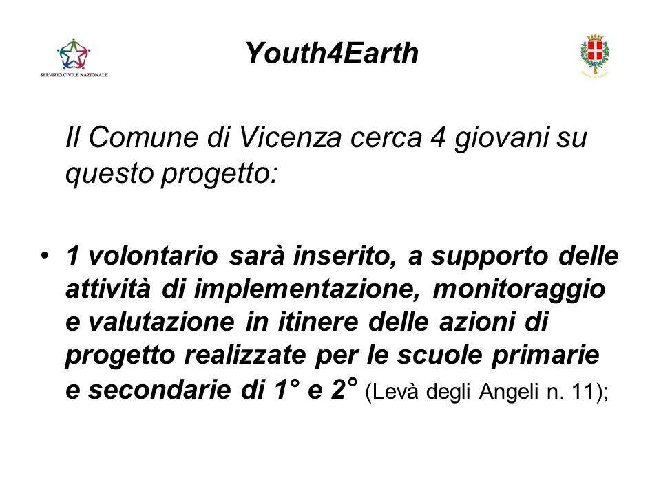 Youth4Earth Il Comune di Vicenza cerca 4 giovani su questo progetto: 1 volontario sarà inserito, a supporto delle attività di implementazione, monitoraggio e valutazione in itinere delle azioni di progetto realizzate per le scuole primarie e secondarie di 1° e 2 ° (Levà degli Angeli n.