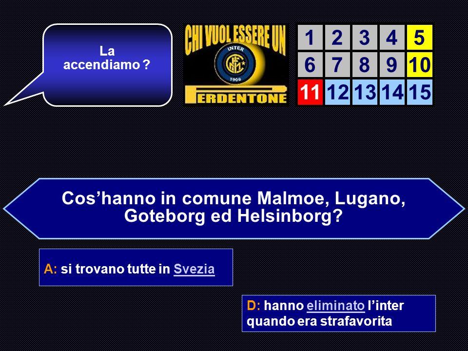 Coshanno in comune Malmoe, Lugano, Goteborg ed Helsinborg? A: si trovano tutte in Svezia B: hanno gli stessi colori sociali C: sono state tutte allena