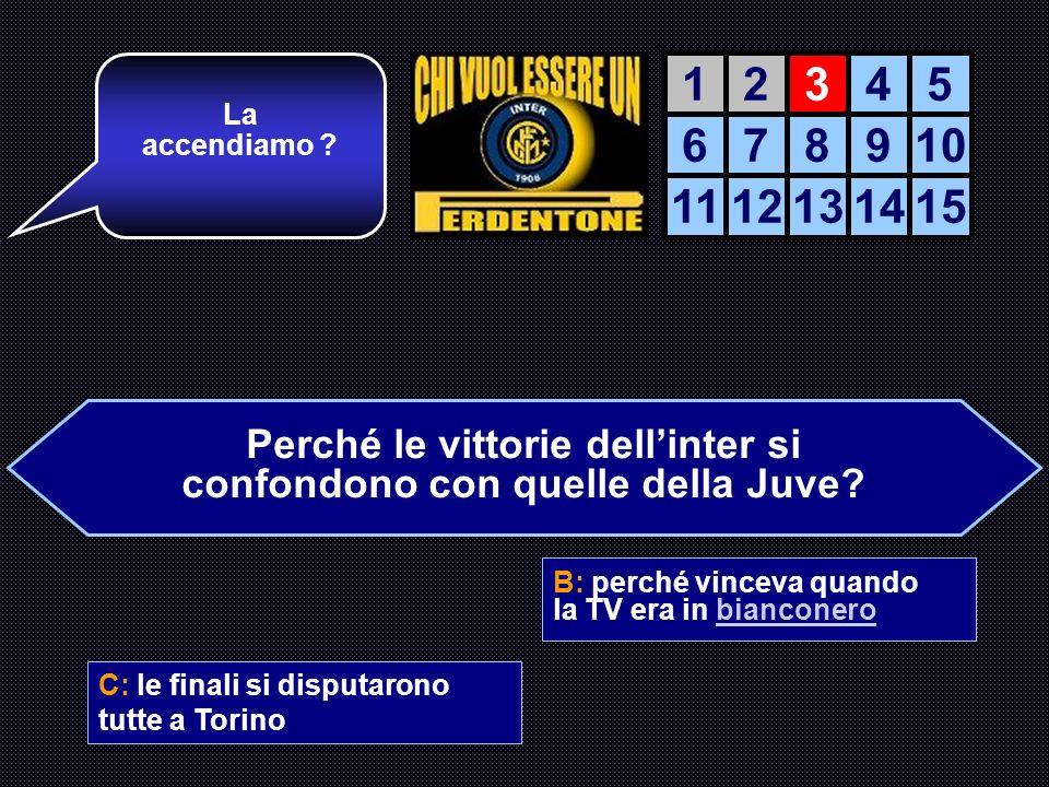 Perché le vittorie dellinter si confondono con quelle della Juve? A: le due squadre si assomigliano B: perché vinceva quando la TV era in bianconero C