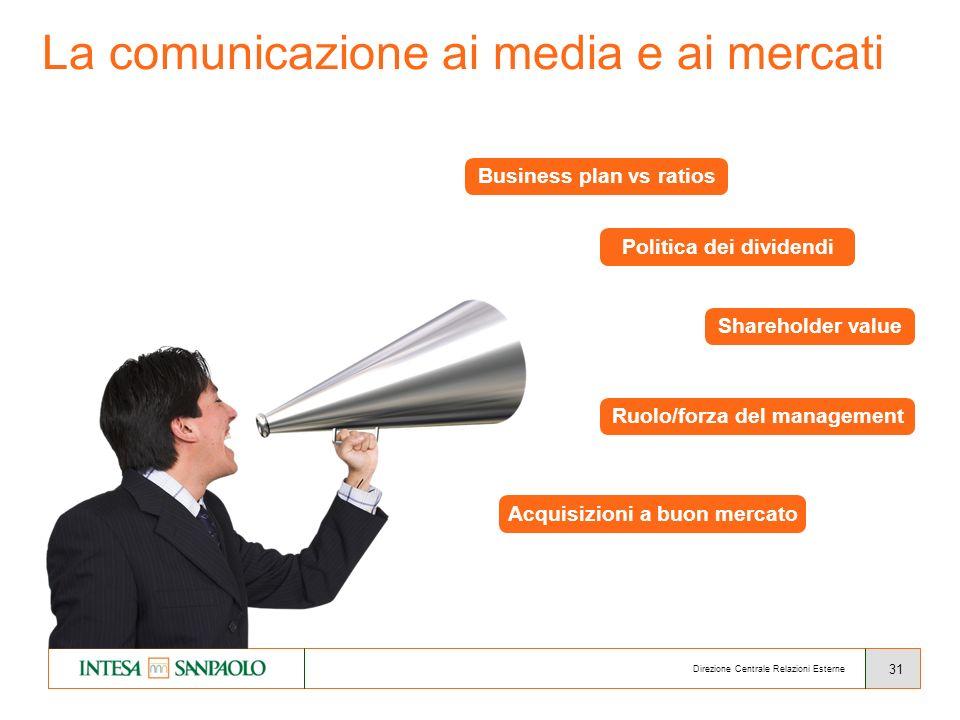 31 La comunicazione ai media e ai mercati Direzione Centrale Relazioni Esterne Business plan vs ratios Politica dei dividendi Shareholder value Acquisizioni a buon mercato Ruolo/forza del management