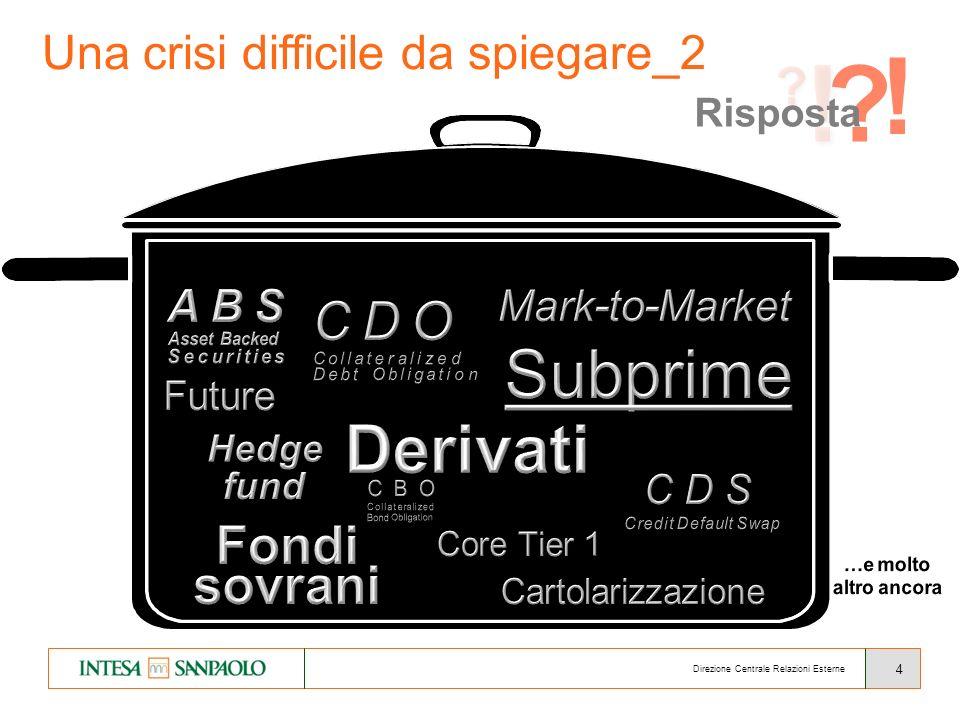 4 Direzione Centrale Relazioni Esterne Una crisi difficile da spiegare_2 ! ! Risposta