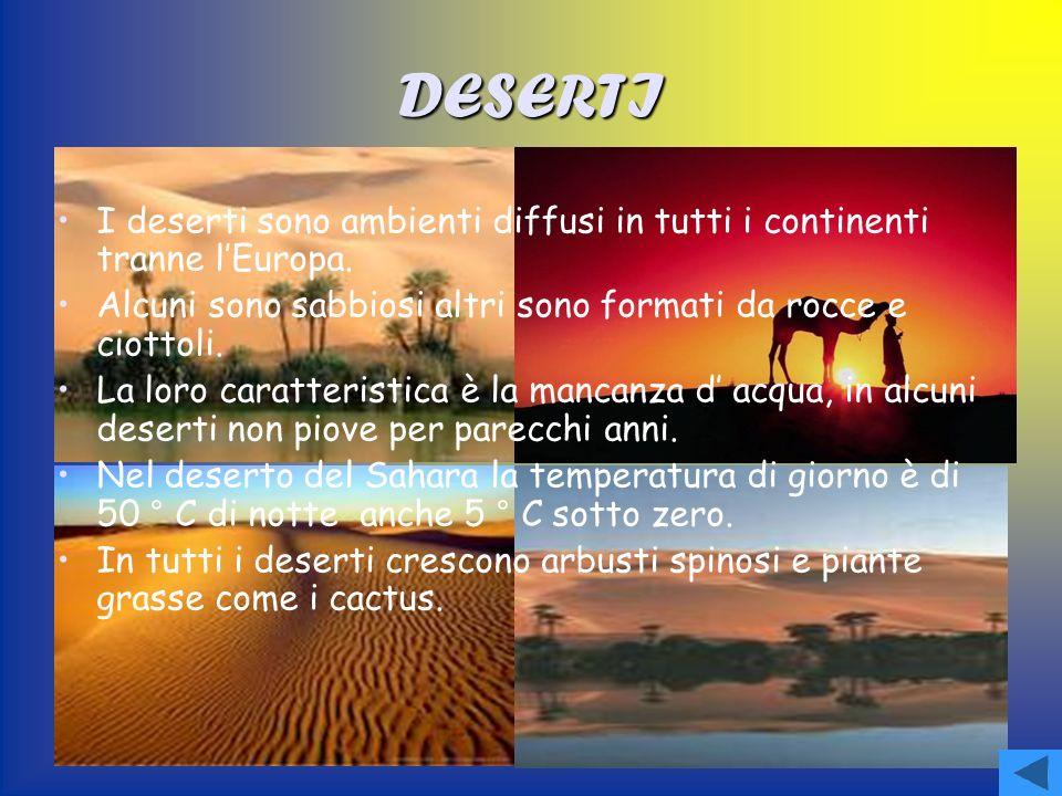 DESERTI I deserti sono ambienti diffusi in tutti i continenti tranne lEuropa.