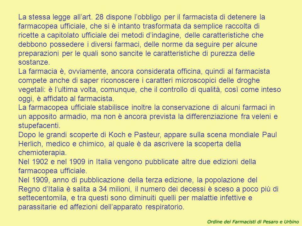 La stessa legge allart. 28 dispone lobbligo per il farmacista di detenere la farmacopea ufficiale, che si è intanto trasformata da semplice raccolta d