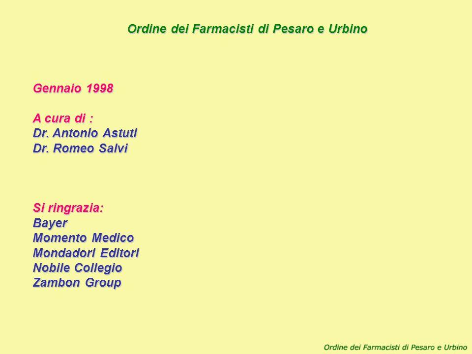 Ordine dei Farmacisti di Pesaro e Urbino Gennaio 1998 A cura di : Dr. Antonio Astuti Dr. Romeo Salvi Si ringrazia: Bayer Momento Medico Mondadori Edit