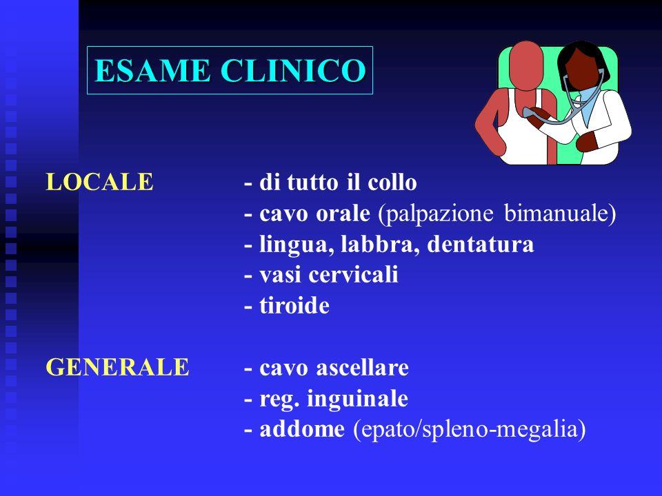 LOCALE- di tutto il collo - cavo orale (palpazione bimanuale) - lingua, labbra, dentatura - vasi cervicali - tiroide GENERALE- cavo ascellare - reg. i
