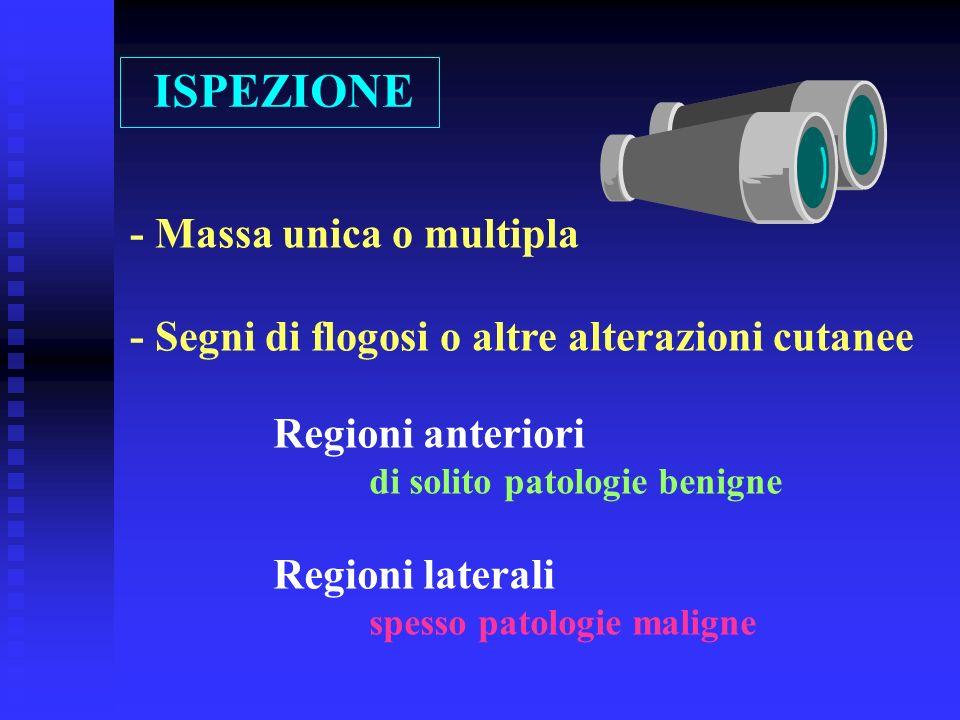 ISPEZIONE - Massa unica o multipla - Segni di flogosi o altre alterazioni cutanee Regioni anteriori di solito patologie benigne Regioni laterali spess