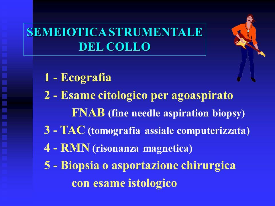 1 - Ecografia 2 - Esame citologico per agoaspirato FNAB (fine needle aspiration biopsy) 3 - TAC (tomografia assiale computerizzata) 4 - RMN (risonanza