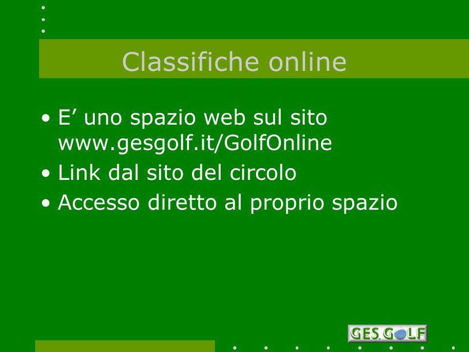 E uno spazio web sul sito www.gesgolf.it/GolfOnline Link dal sito del circolo Accesso diretto al proprio spazio
